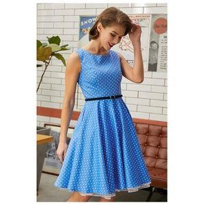 Dresses & Skirts - BluePolka Boatneck Vintage Tea Belted Dress